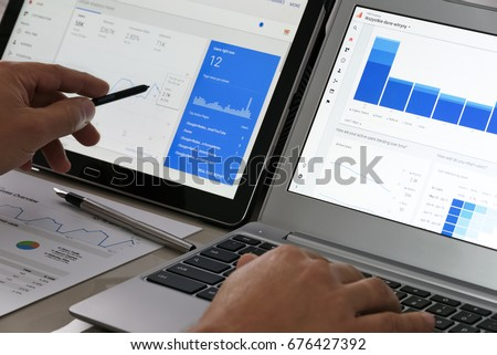 Krynica-Zdroj, Poland - July 11, 2017: Businessman using Google Analytics in the office on his computers. Google Analytics is the most famous application for advanced web traffic analysis in the world