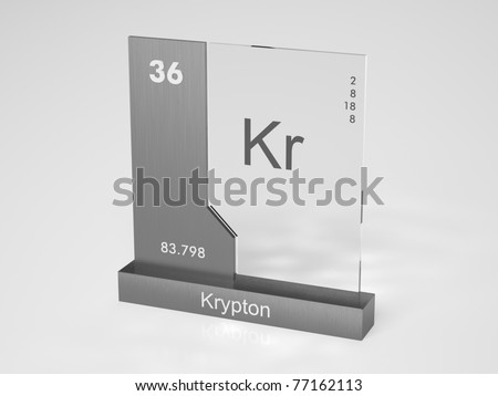 Krypton Symbol Kr Chemical Element Periodic Stock Illustration