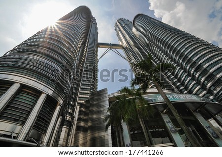 KUALA LUMPUR - APRIL 10: General view of Petronas Twin Towers on Apr 10, 2011 in Kuala Lumpur, Malaysia. The towers are the worlds tallest twin towers with the height of 451.9m.