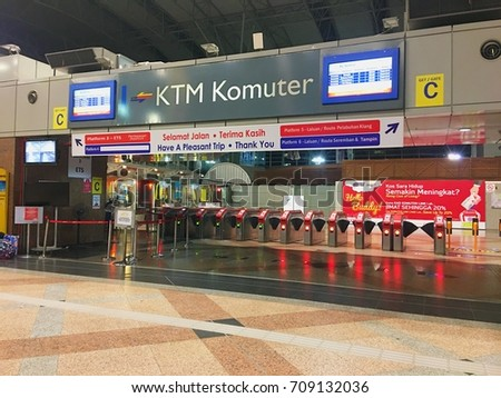 KUALA LUMPUR - AUG 30, 2017: Facade of KTM Komuter train station entrance in KL Sentral in Brickfields, KL. The KTM Komuter is a component of the Klang Valley Public Transport System.