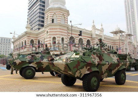 KUALA LUMPUR -  Aug 27 : Rheinmetall Condor APC armored carrier from the Royal Malaysian Armed Forces during the rehearsal for National Day parade on Aug 27,2015,Dataran Merdeka,Kuala Lumpur, Malaysia - stock photo