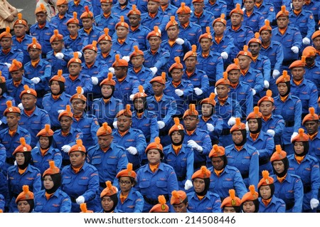 KUALA LUMPUR - AUGUST 31: Civil Defense Units during 57th Celebrations, Malaysian Independence Day Parade on August 31, 2014 in Kuala Lumpur, Malaysia.  - stock photo