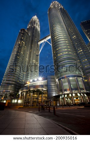 KUALA LUMPUR -CIRCA May 2014: Petronas Twin Towers during night  in Kuala Lumpur, Malaysia. Petronas Towers are twin skyscrapers and were tallest buildings in the world until 2004.
