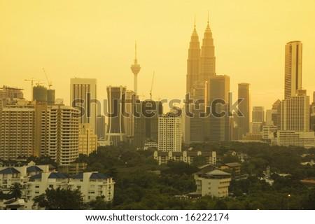 kuala Lumpur city at dusk, Malaysia - stock photo
