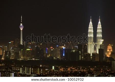 kuala Lumpur city at night, Malaysia - stock photo
