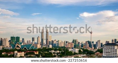 Kuala Lumpur city skyline during the day - stock photo