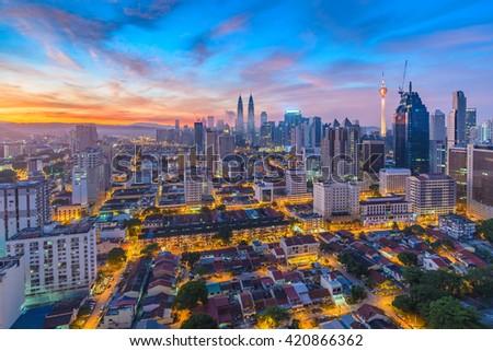 Kuala Lumpur city skyline when sunrise, Malaysia - stock photo