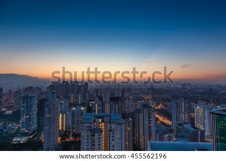 Kuala Lumpur cityscape at dawn, viewed from Mont Kiara, east of Kuala Lumpur, Malaysia - stock photo