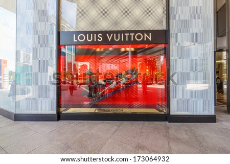 KUALA LUMPUR - DEC 23:  Louis Vuitton store on Dec 23, 2013 in Suria KLCC, KL, Malaysia. It was founded in 1854, is the world's leading luxury brand with revenue of 25.9 billion USD in 2012. - stock photo