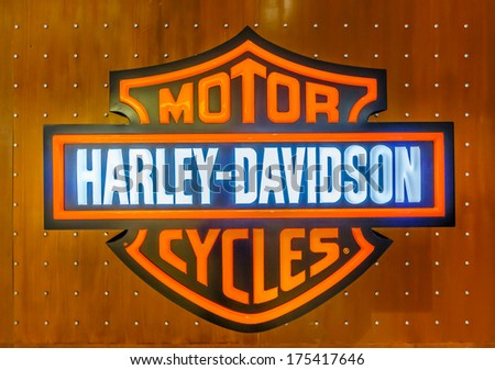 KUALA LUMPUR - DECEMBER 23: Harley-Davidson Logo at KLCC on Dec 23, 2013 in KL, Malaysia. Harley-Davidson sustains a large brand community which keeps active through clubs, events, and a museum. - stock photo