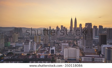 KUALA LUMPUR - DECEMBER 12 2015: Kuala Lumpur city views and klcc, from Regallia suite and residence - stock photo
