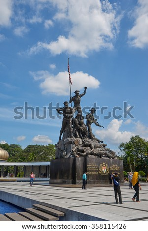 KUALA LUMPUR - DECEMBER 25 : Malaysia National Monument on Dec 25, 2015 in Malaysia. It is a monument to commemorate for those who died during World War II and the Malayan Emergency.