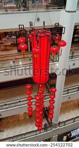 KUALA LUMPUR -3 FEBRUARY 2015: Chinese new year lanterns decoration inside  Petronas Twin Towers,Kuala Lumpur City Centre KLCC during Chinese New Year on February 3, 2015 in Kuala Lumpur, Malaysia - stock photo