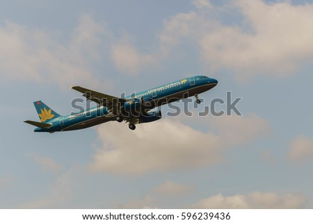 Kuala Lumpur Internal Airport, Malaysia, 7th March, 2017,  Vietnam Airlines aircraft landing at the airport on a cloudy day