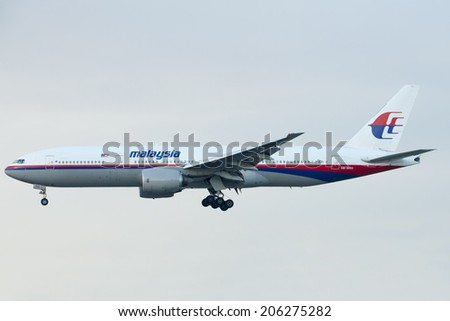 KUALA LUMPUR INTERNATIONAL AIRPORT (KLIA), SEPANG, MALAYSIA- JULY 21, 2014: Boeing 777-200ER (9M-MRQ) MAS lands at KLIA, Malaysia. Similar plane MH17 was shot down in Ukraine-Russian border recently. - stock photo