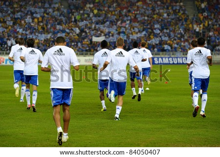 KUALA LUMPUR, JULY 21 : Chelsea player warm-up during a preseason match against Malaysia on July 21, 2011 in Kuala Lumpur, Malaysia. Chelsea won 1-0 - stock photo