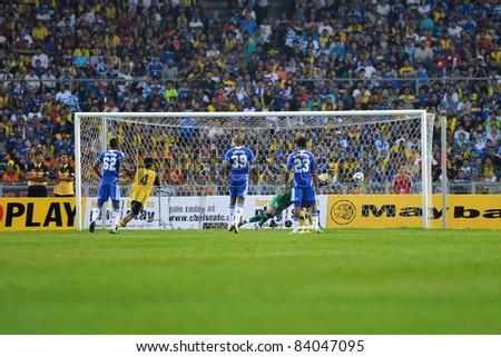 KUALA LUMPUR, July 21 : Chelsea's goal by Drogba free kick during a preseason match agains Malaysia on July 21, 2011 in Kuala Lumpur, Malaysia. Chelsea won 1-0 - stock photo