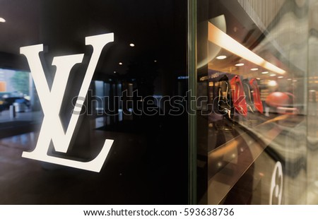 KUALA LUMPUR - JUNE 15, 2016: The Louis Vuitton showcase in the Suria KLCC shopping mall. For years 2006 - 2012 LV was named the worlds most valuable luxury brand.