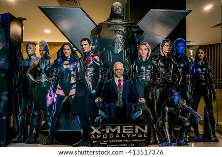 KUALA LUMPUR, MALAYSIA - APRIL, 2016 : A wall sized X-Men poster displayed during a roadshow in Mid Valley taken on 30 April 2016. X-Men: Apocalypse premieres is on May 27, 2016 - stock photo