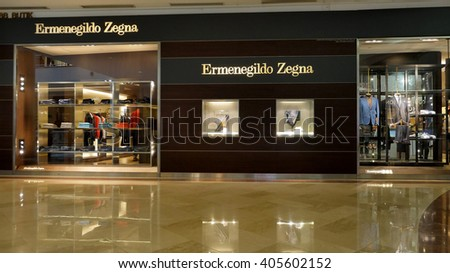 KUALA LUMPUR, MALAYSIA - April 10, 2016. Ermenegildo Zegna shop inside Suria KLCC. Ermenegildo Zegna is an Italian luxury fashion house, headquarters in Milan, founded since 1910.  - stock photo