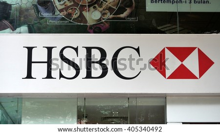 KUALA LUMPUR, MALAYSIA - April 10, 2016. HSBC logo display outside of the building in Kuala Lumpur. HSBC is a British multinational banking company. Founded in Hong Kong since 1865. - stock photo