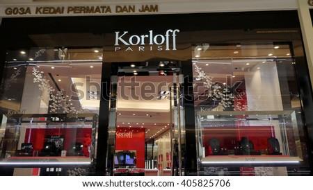 KUALA LUMPUR, MALAYSIA - April 10, 2016. Korloff exclusive store inside Suria KLCC. Korloff is a France jewellery company. - stock photo
