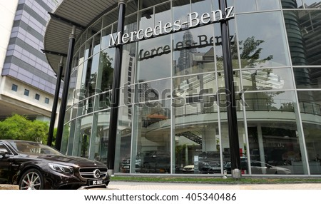 KUALA LUMPUR, MALAYSIA - April 10, 2016. Mercedes-Benz showroom in city center of Kuala Lumpur. Mercedes is a German automobile manufacturer. Founded since 1926
