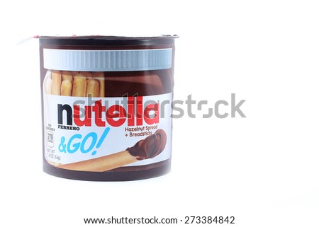 KUALA LUMPUR, MALAYSIA - APRIL 28 2015. Nutella,is the brand name of an Italian sweetened hazelnut chocolate spread.Manufactured by the Italian company Ferrero,it was introduced to the market in 1964.