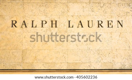 KUALA LUMPUR, MALAYSIA - April 10, 2016. Ralph Lauren logo display inside Suria KLCC, Ralph Lauren is an American clothing company, headquarters in New York and founded since 1967. - stock photo
