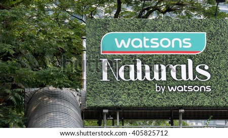 KUALA LUMPUR, MALAYSIA - April 10, 2016. Watsons advertising board near twin towers. Watsons is the largest health care and beauty care store in Asia. Headquarters in Hong Kong and founded since 1828. - stock photo