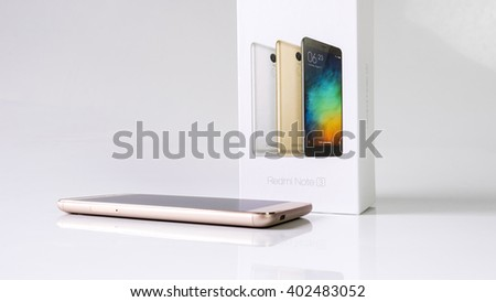 Kuala Lumpur, Malaysia - April 7, 2016: Xiaomi Redmi Note 3 smartphone developed by Xiaomi Inc. Xiaomi is privately owned Chinese electronic company, the world's 5th largest smartphone maker in 2015