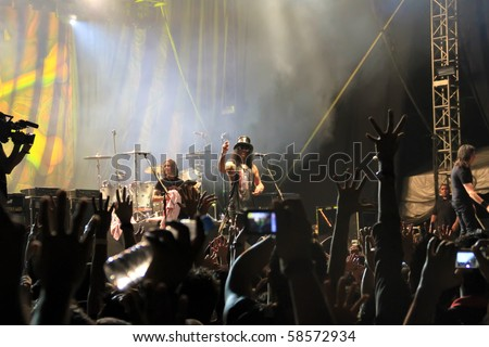 KUALA LUMPUR, MALAYSIA - AUG 5: Former Guns n Roses guitarist Slash performing onstage at Sunway Lagoon on August 5, 2010 in Kuala Lumpur Malaysia
