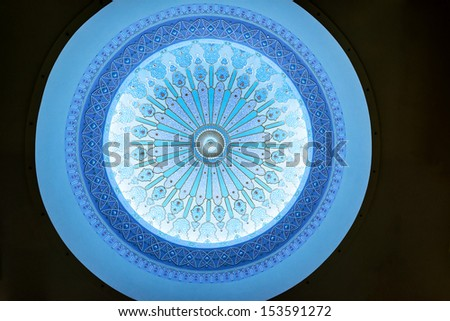 KUALA LUMPUR, MALAYSIA - August 16: Ceiling of Islamic Arts Museum Malaysia in Kuala Lumpur, Malaysia on August 16, 2013. The museum is located in the heart of Kuala Lumpur's tourist belt.