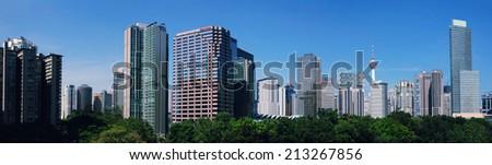 KUALA LUMPUR, MALAYSIA - AUGUST 24: Panorama view of  Kuala Lumpur Cityscape on August 24, 2014  - stock photo