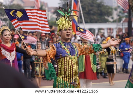 KUALA LUMPUR, MALAYSIA - 31 AUGUST 2015 : Performer wearing a traditional costume for their ethnic during National Day celebration.