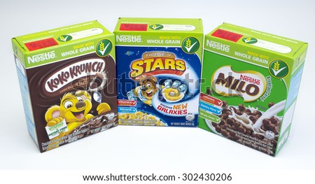 KUALA LUMPUR, MALAYSIA - AUGUST 3rd 2015. Nestle breakfast cereal. Nestle is a Swiss multinational food and beverage one of the largest food company in the world . - stock photo