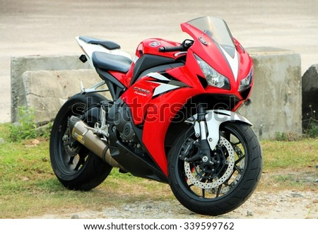 Kuala Lumpur, Malaysia, August 30, 2015: Red colour superbike style park on a road side.   - stock photo