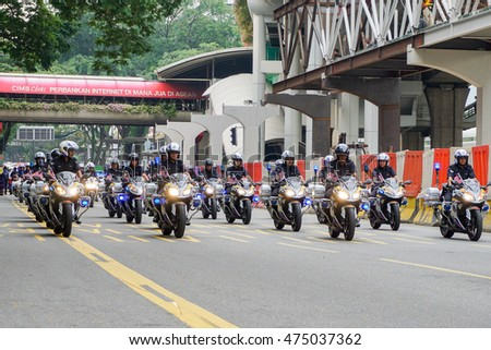 KUALA LUMPUR, MALAYSIA - AUGUST 29,2016 : Rehearsal for celebrating the independence of Malaysia's 59th year. Malaysia Independence Day Parade will be held on August 31,2016.