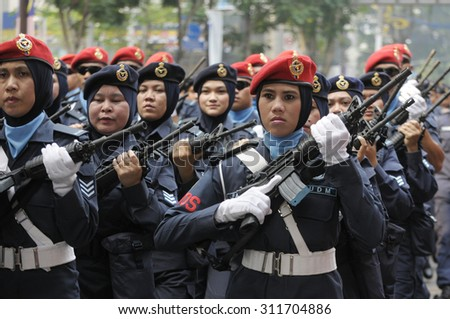 KUALA LUMPUR, MALAYSIA - AUGUST 31: Unidentified Malaysian Air Force personnel during parade celebration of Malaysia Independence day 58th in Merdeka square, Kuala Lumpur, Malaysia on August 31, 2015