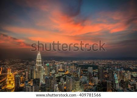 Kuala Lumpur, Malaysia city skyline - stock photo