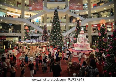"KUALA LUMPUR, MALAYSIA - DECEMBER 26: The beautiful Christmas decorations at centre court of Pavilion KL on December 26, 2011 in Kuala Lumpur, Malaysia. Theme of this year is ""Christmas Wonderland"". - stock photo"