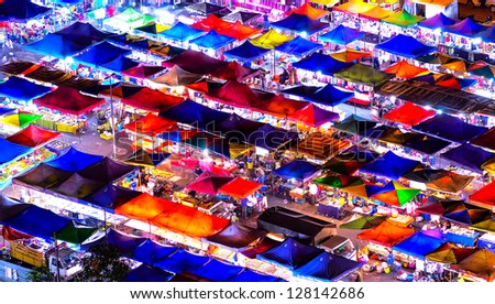 KUALA LUMPUR, MALAYSIA - FEB. 1:Aerial view of night market on February 1, 2013 in Kuala Lumpur. The market is a long stalls which specializes in food,clothes and kitchen needs. - stock photo
