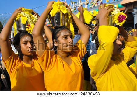Kuala Lumpur, Malaysia - Feb 8: Celebration of Thaipusam at Batu Caves on February 8, 2009. Thaipusam is a Hindu festival and it honors Subrimaya, son of Shiva and an important deity in southern India.