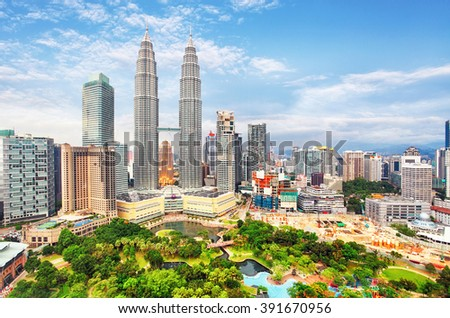 KUALA LUMPUR, MALAYSIA - Ferbruary 5: Petronas Towers on February 5, 2016 in Kuala Lumpur, Malaysia.Petronas Towers is the tallest buildings in the world from 1998 to 2004 - stock photo