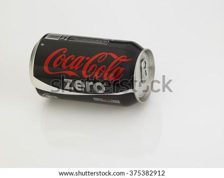 Kuala Lumpur Malaysia Jan 18th 2016,coca cola zero black can on the white background - stock photo