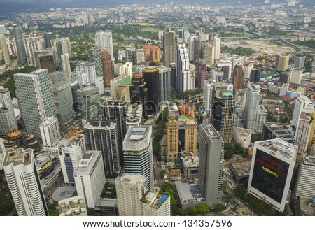 KUALA LUMPUR, MALAYSIA - JANUARY 6: Aerial view of the city at 6 January, 2014. Kuala Lumpur, Malaysia. KL is one of the fastest growing city in South-East Asia.
