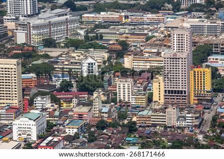 Kuala Lumpur, Malaysia - January 6: Closeup view of different buildings in Kuala Lumpur, Malaysia on January 6, 2015. - stock photo