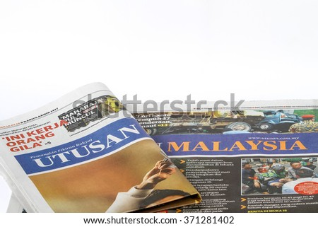 Kuala Lumpur, Malaysia 29 January 2016 : Front page of Utusan Malaysia, Malay-language newspaper published in Malaysia. One of the highest readerships in the country.