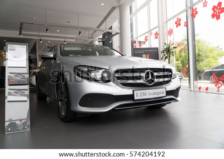 KUALA LUMPUR, MALAYSIA - JANUARY 31, 2017: Mercedes e250 Avantgarde at the showroom in Kuala Lumpur Malaysia