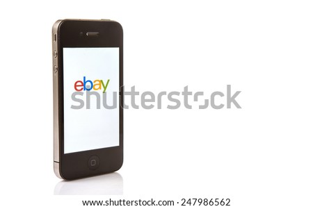 KUALA LUMPUR, MALAYSIA - JANUARY 28TH 2015. Ebay App. Founded in 1995, eBay Inc. is an American multinational and e-commerce corporation which manages eBay.com, an online auction and shopping website. - stock photo